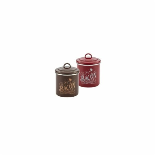 Ayesha Curry 09079 Enamel on Steel Bacon Grease Cans, Sienna Red & Brown Sugar Perspective: front