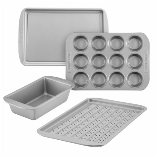 Farberware Nonstick Sheet Loaf Muffin and Crisper Pan Set - Gray Perspective: front
