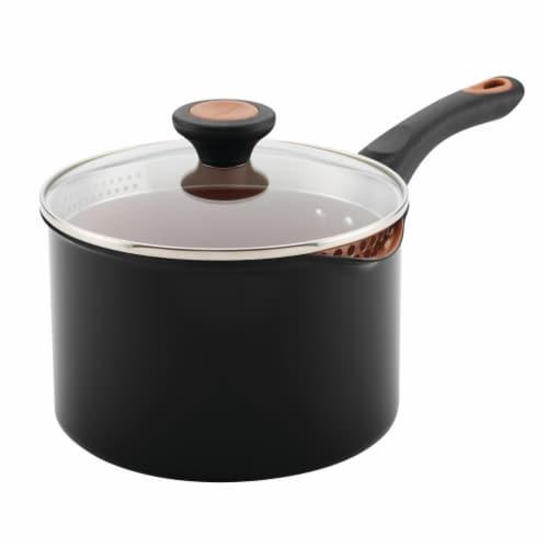 Farberware 10655 Glide Copper Ceramic Nonstick Straining Saucepan, 3 qt. - Black Perspective: front