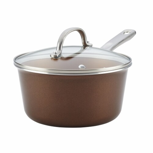 Ayesha Curry Porcelain Enamel Nonstick Covered Saucepan, 3 qt. - Brown Sugar Perspective: front