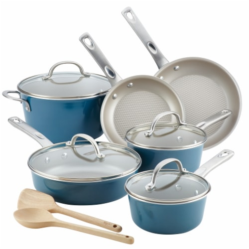 Ayesha Home Collection Porcelain Enamel Nonstick Cookware Set - Teal Perspective: front