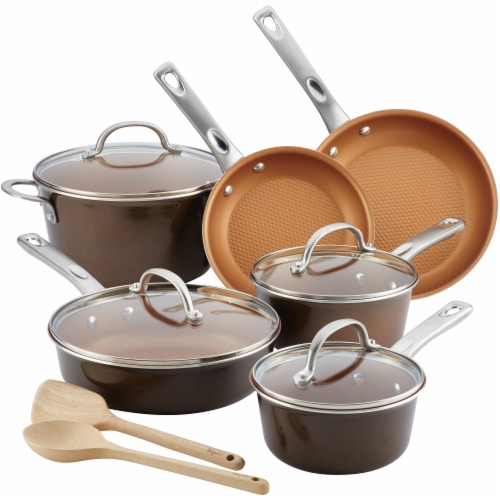 Ayesha Curry Home Collection Porcelain Enamel Nonstick Cookware Set - Brown Perspective: front