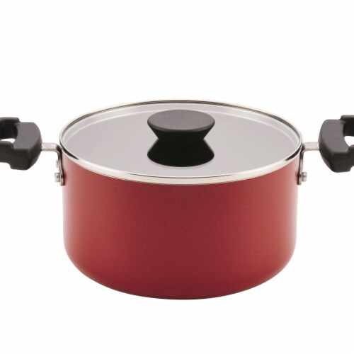 Farberware 3.5-quart Neat Nest Space Saving Aluminum Nonstick Covered Saucepot- Red Perspective: front