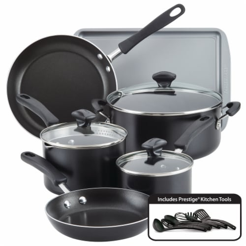 Farberware Cookstart Aluminum DiamondMax Nonstick Cookware Set - Black Perspective: front