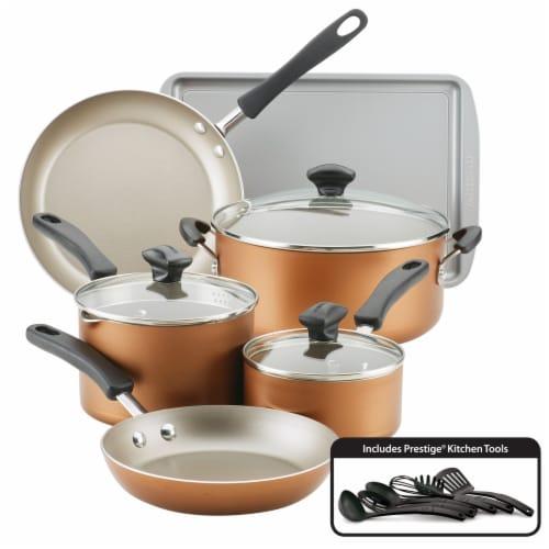Farberware Cookstart Aluminum DiamondMax Nonstick Cookware Set - Copper Perspective: front