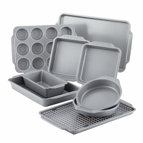 Farberware Nonstick Bakeware Set with Cooling Rack - Gray Perspective: front