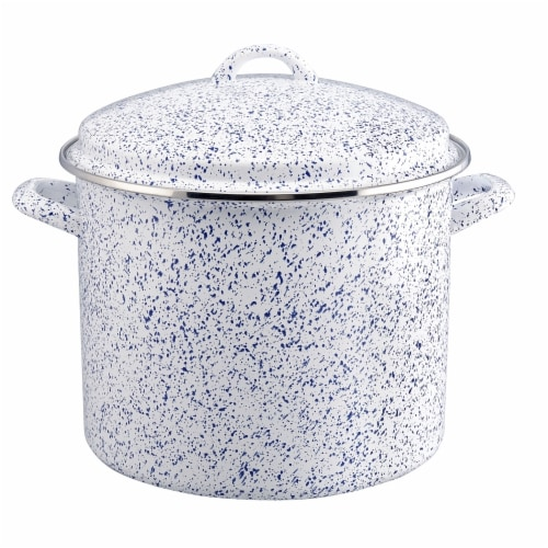 Paula Deen Enamel-on-Steel Covered Stockpot, Seaspray White Speckle - 12 qt Perspective: front