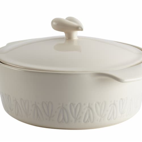 Ayesha Curry Ceramic Round Casserole, 2.5 qt. - French Vanilla Perspective: front