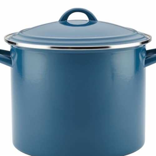 Ayesha Curry Enamel on Steel Stockpot, 12 qt. - Twilight Teal Perspective: front