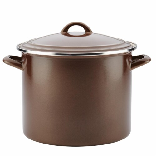 Ayesha Curry Enamel on Steel Stockpot, 12 qt. - Brown Sugar Perspective: front