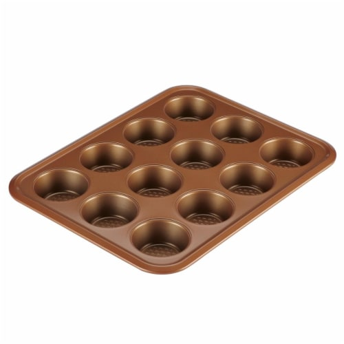 Ayesha Curry 47002 12-Cup Muffin Pan, Copper Perspective: front