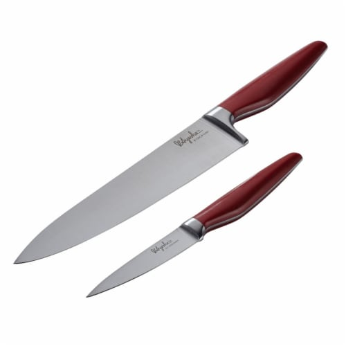 Ayesha Curry 47055 Japanese Steel Cooking Knife Set, Sienna Red, 2 Piece Perspective: front