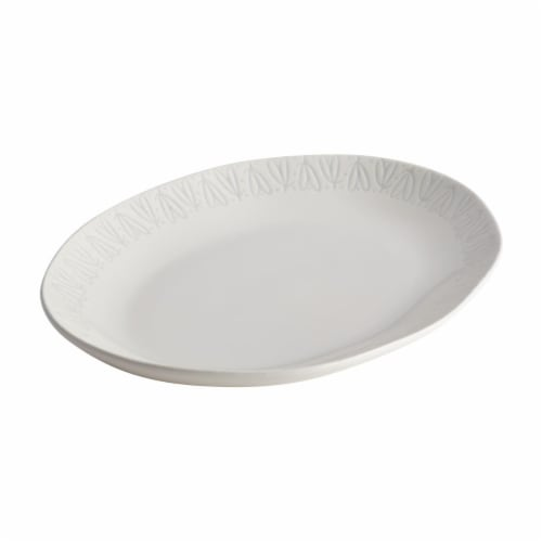Ayesha Curry 47689 10.5 x 13.5 in. Ceramic Oval Platter - French Vanilla Perspective: front