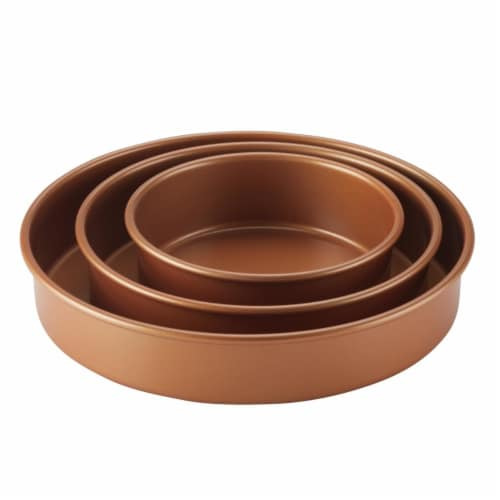 Ayesha Curry Bakeware Round Cake Pan Set - Copper, 3 Piece Perspective: front