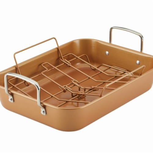 Ayesha Curry 47792 11 x 15 in. Bakeware Nonstick Roaster with Convertible Rack - Copper Perspective: front