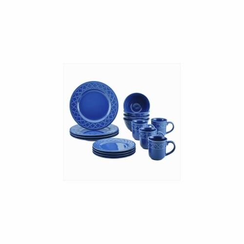 Paula Deen Savannah Trellis 16-Piece Stoneware Dinnerware Set, Cornflower Blue Perspective: front