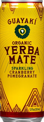 Guayaki Yerba Mate Organic Sparkling Cranberry Pomegranate Soda Perspective: front