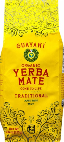Guayaki Yerba Mate Organic Traditional Tea Bags Perspective: front