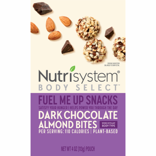 Nutrisystem Body Select Fuel Me Up Snacks Dark Chocolate Almond Bites Perspective: front