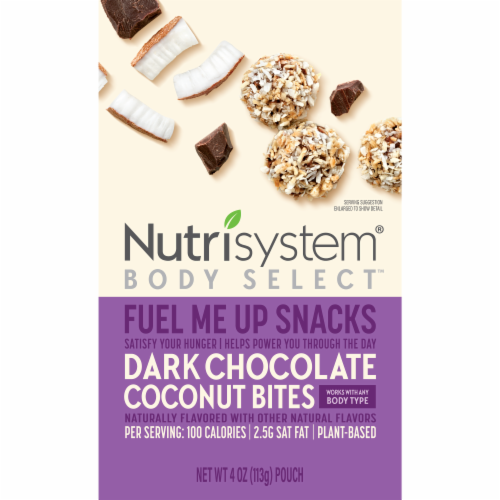 Nutrisystem Body Select Fuel Me Up Snacks Dark Chocolate Coconut Bites Perspective: front