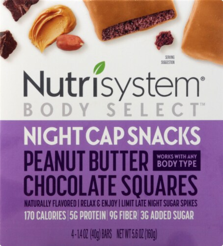 Nutrisystem Body Select Night Cap Snacks Peanut Butter Chocolaty Squares Snack Perspective: front