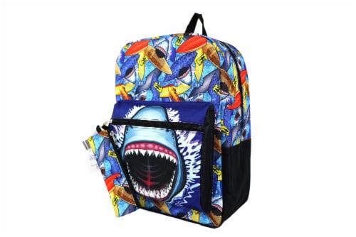 Cudlie Backpack & Pencil Case Set - Surf Sharks Perspective: front