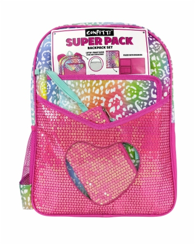 Cudlie Super Pack Rainbow Animal Print Backpack Perspective: front