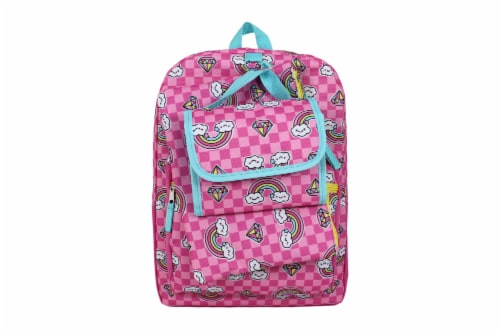 Cudlie Backpack Set - Gem/Rainbow/ Pink Checkered Perspective: front