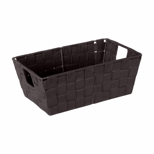 Simplify 25094-CHOCO Woven Storage Shelf Bin, Chocolate - Small Perspective: front