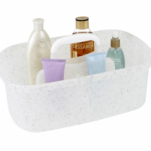 Simplify 26109-WHITE Granite Look Shower Caddy, White Perspective: front