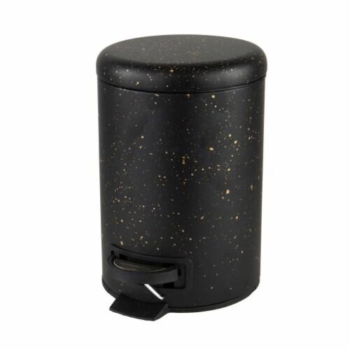 Elle Decor EL-44160-BLACK 3 Litre Speckled Design Step Bin with Lid Trash Can, Black Perspective: front