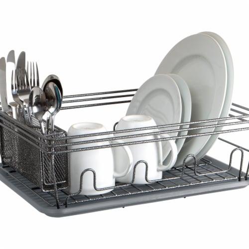 Laura Ashley LA-92546-GREY Speckled Dish Rack Set, Grey Perspective: front