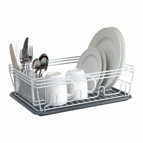 Laura Ashley LA-92546-WHITE Speckled Dish Rack Set, White Perspective: front