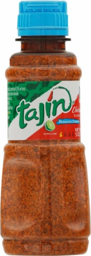 Tajin Clasico with Lime Low Sodium Snack Seasoning Perspective: front