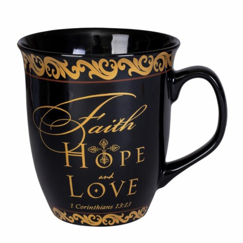 Dicksons MUG104FHL Faith Hope Love 1 Corinthians 13-13 Ceramic Mug - Black Perspective: front
