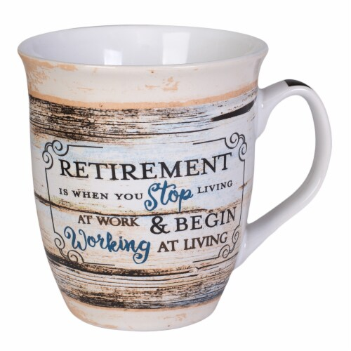 Dicksons MUG107RT Reitrement Working At Living Distressed Ceramic Mug Perspective: front