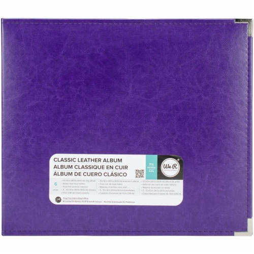 We R Memory Album 12x12 Leather D-Ring Grape Soda Perspective: front