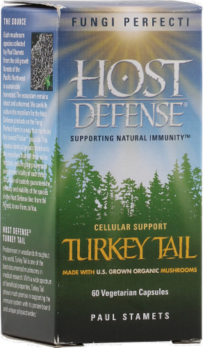 Host Defense Turkey Tail Immune Support Capsules Perspective: front