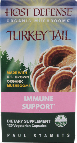 Host Defense Organic Mushrooms Turkey Tail Immune Support Perspective: front