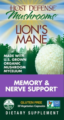 Host Defense Mushrooms Lion's Mane Memory & Nerve Support Capsules Perspective: front
