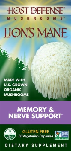 Host Defense Memory and Nerve Support Lions Mane Capsules Perspective: front
