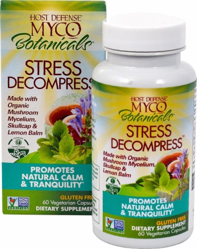 Myco Botanicals Stress Decompress Vegetarian Capsules Perspective: front