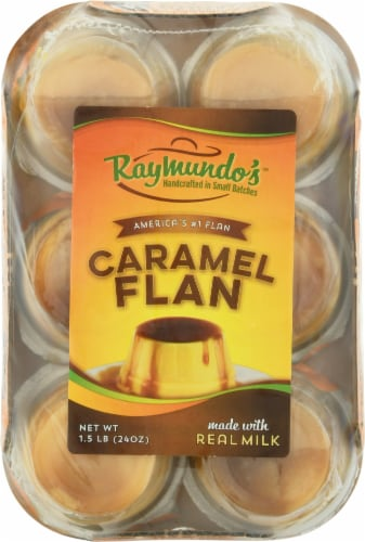 Raymundo's Single Serve Caramel Flan 6 Count Perspective: front