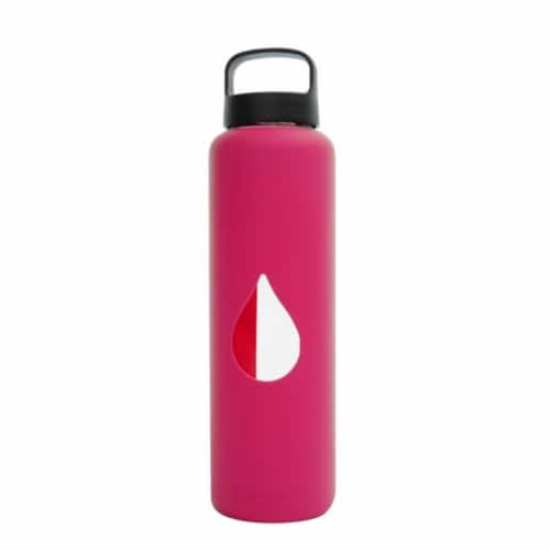 Bluewave Lifestyle 750ml Reusable Glass Water Bottle With Loop Cap and Sleeve, Pink Perspective: front