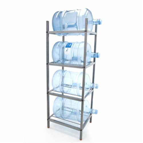 Bluewave Lifestyle PKSM443 4-Step Metal Bottle Storage Rack Holds 4 Bottles, Dust Black Perspective: front