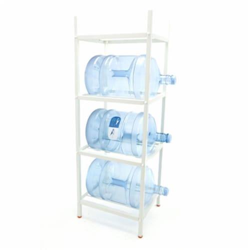 Bluewave Lifestyle PKSM444 4-Step Metal Bottle Storage Rack Holds 4 Bottles, White Perspective: front