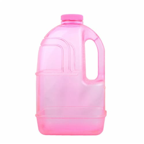 H8O 1 gal Square Water Bottle with 48 mm Cap, Pink Perspective: front