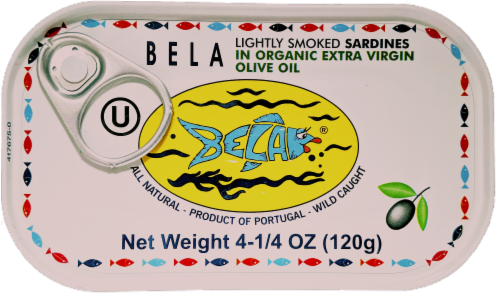Bela Lightly Smoked Sardines in Olive Oil Perspective: front