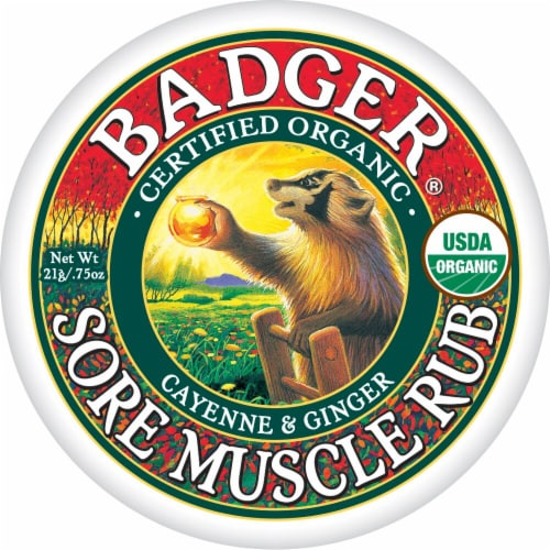 Badger Organic Cayenne and Ginger Sore Muscle Rub Perspective: front