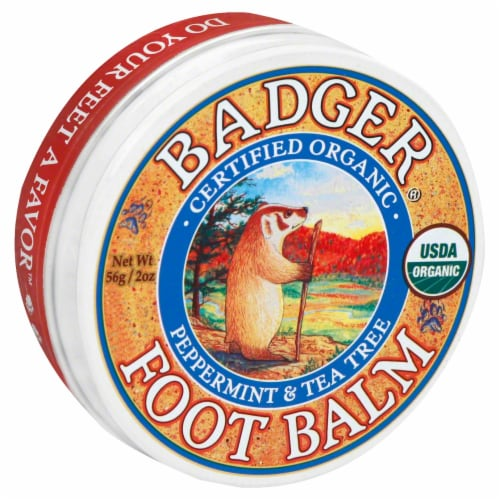 Badger Organic Foot Balm Peppermint & Tea Tree Perspective: front